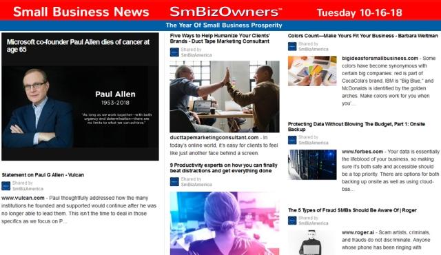 Small Business News Tuesday 10-16-18 @SmBizOwners™ SmBiz America SmallBusinessNews Marketing SmallBusiness SmallBusinessGrowth Startups MadeInAmerica SmBizAmerica